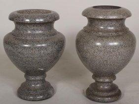Near Pair of Large Polished Granite Urns