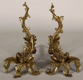 Pair of Rococo Style Brass Chenets, 20th C.