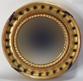 Regency Convex Giltwood Mirror, E. 19th C.