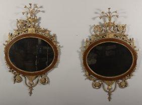 Pr. of Geo.III Gilt Wood Carved Mirrors,L.18th C.