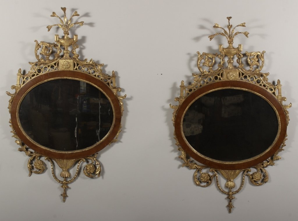 Pr. of Geo.III Gilt Wood Carved Mirrors,L.18th C.