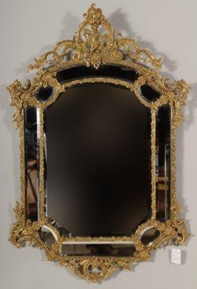 Louis Xv Style Gilt Metal Mirror, With Putti