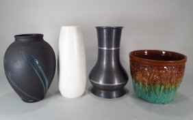 (4) 20th Century Vases; Incl Art Pottery & Pewter