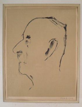 Marino Marini, Portrait Thomas Mann, Litho 1955