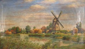 Dutch School, C 1900, Farm Scene, O/b