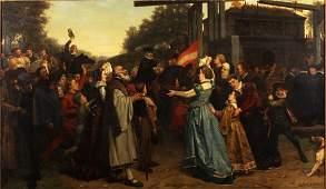 Jan Antoon Neuhuys, Dutch 19th c., The Procession