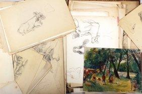 George Baer, Am., Drawings, Ink/graphite On Paper