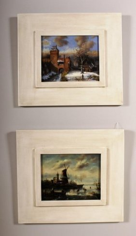 2 Paintings of Eur. Winter Landscapes,o/b
