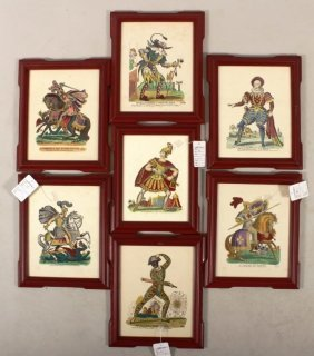 Group of 7 Theatrical Hand Colored Prints