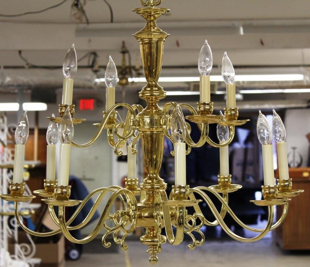 12 Light Electrified Brass Chandelier