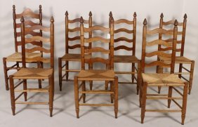 Group of 7 Wooden Ladder Back Side Chairs