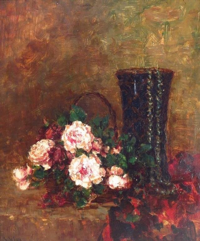 Marie Weger, Roses with Blue Vase