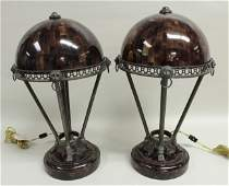 Pair of Table Lamps faux tortoise shell base