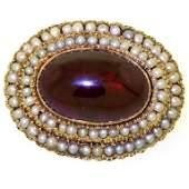 Victorian 14k Garnet  Seed Pearl Brooch