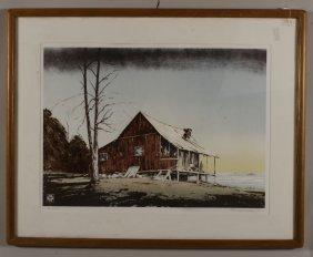 John Sherrill Houser, Am., B. 1935, House, Print