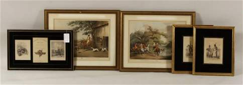 5 Framed prints English and French E 19th C