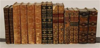 Group of Leather Bound Books Incl Dickens