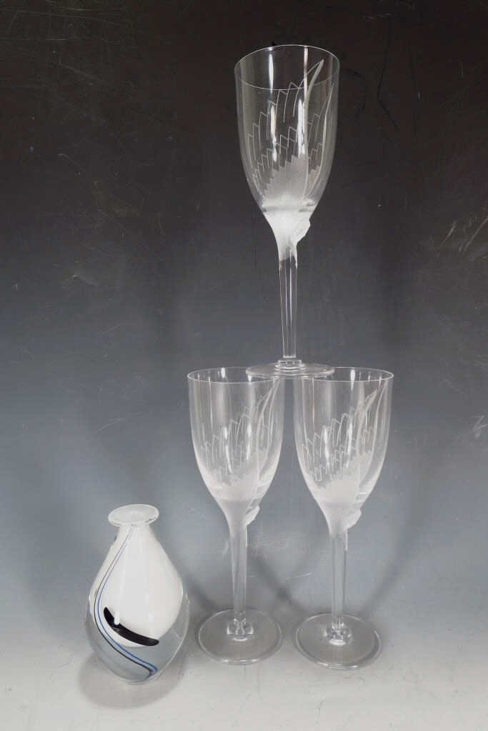 Lot of Three Signed Lalique Wine Glasses, French