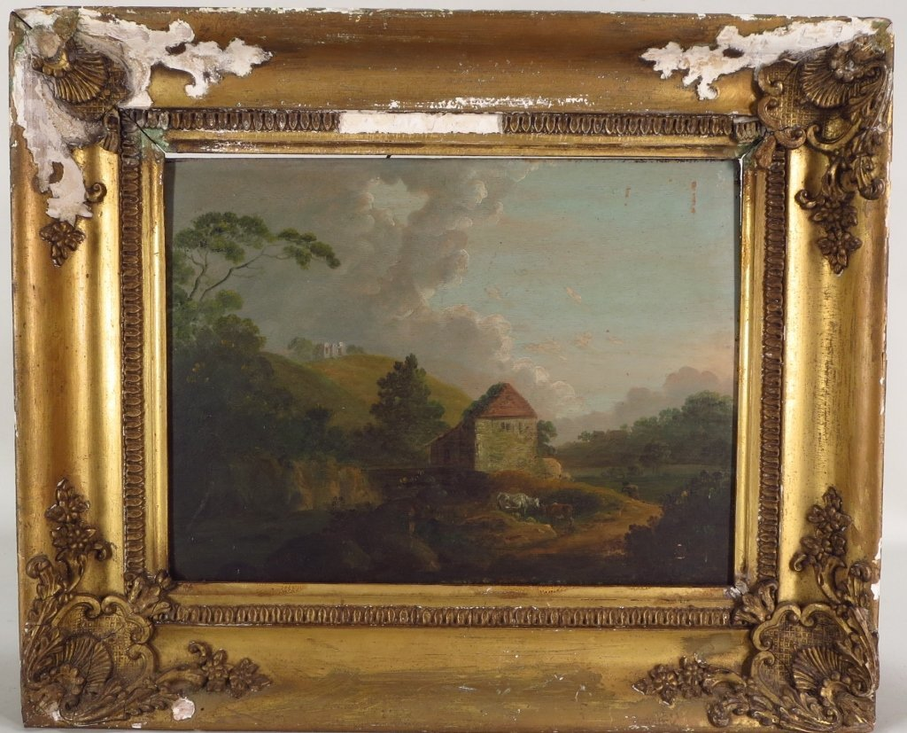 Pair of Landscape Paintings, O/B, 190th C.