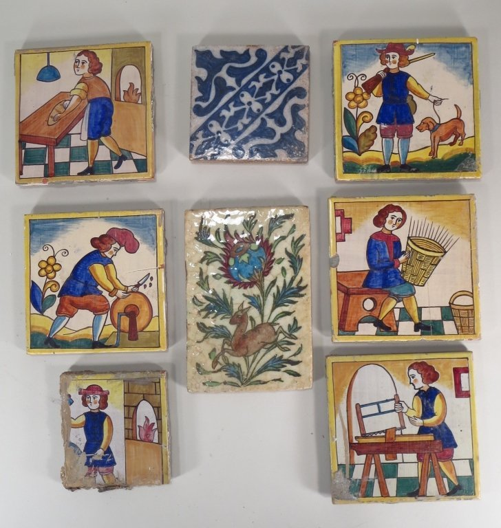 Lot of 8 Hand-Painted Ceramic Tiles, European