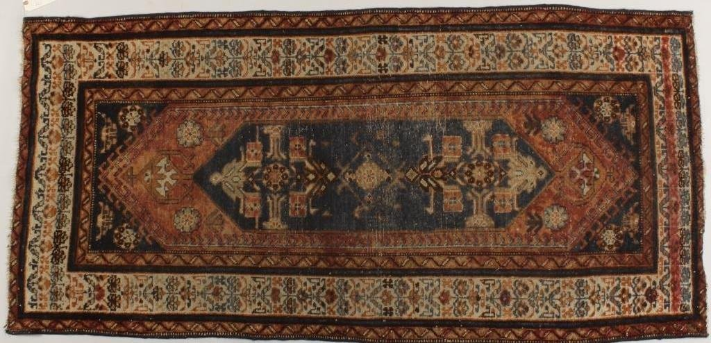 Hamadan Rug, Blue Central Medaillon,  Pointed Ends