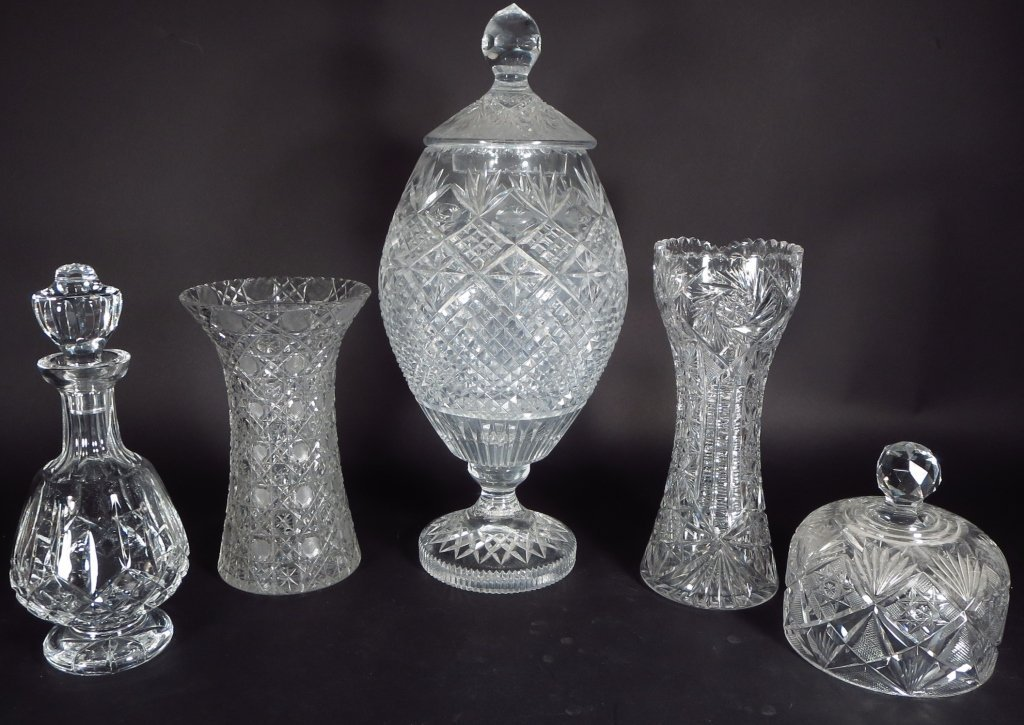 Irish Crystal Trophy and Other Cut Glass