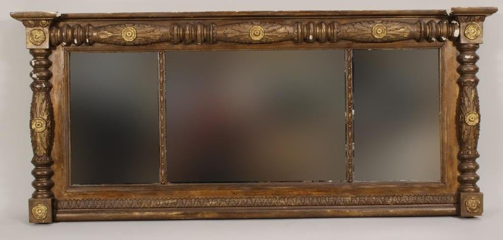 Victorian Over Mantle Mirror, Carved Frame, 19 C.