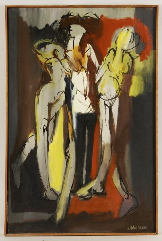 Arnold Weber, Abstract Dancing Figures, O/C