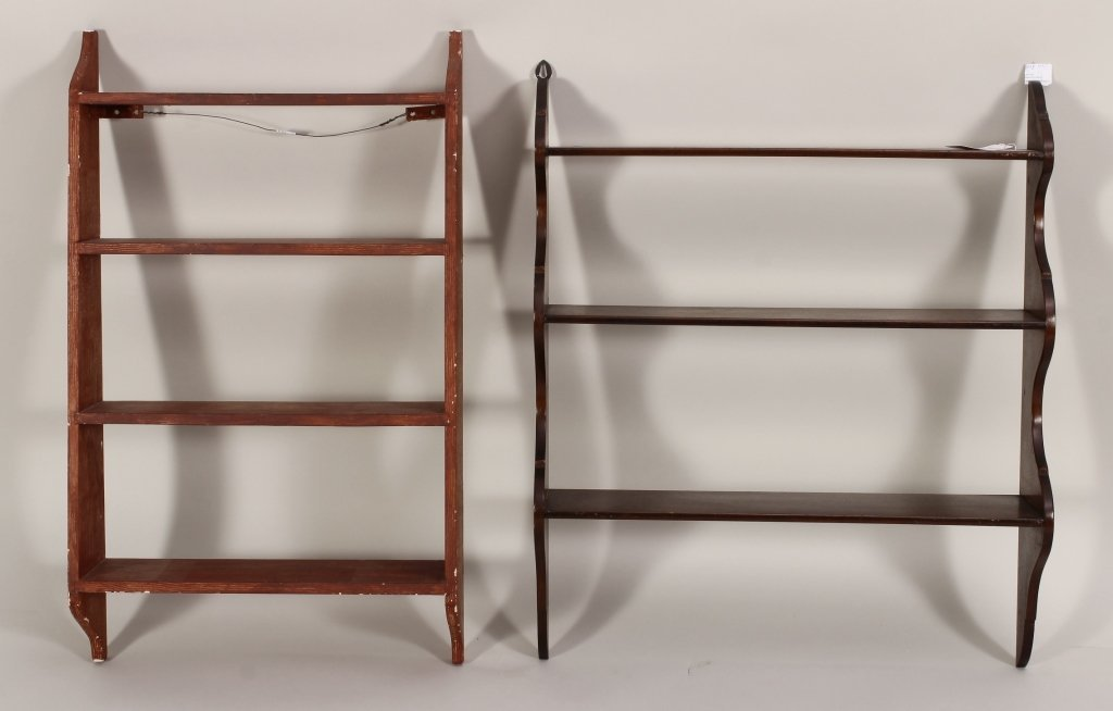 Two Hanging Wall Shelves, Mahogany & Painted