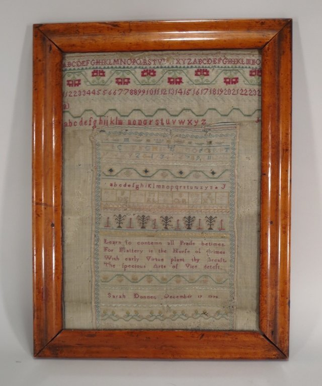 Needlework Sampler, Sarah Donner, 18th C.