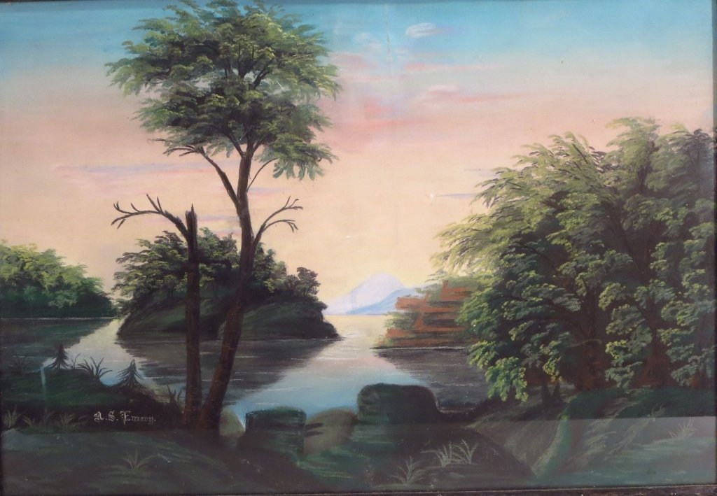 A.S. Emery,  Mountain Lake, Pastel,19th C.