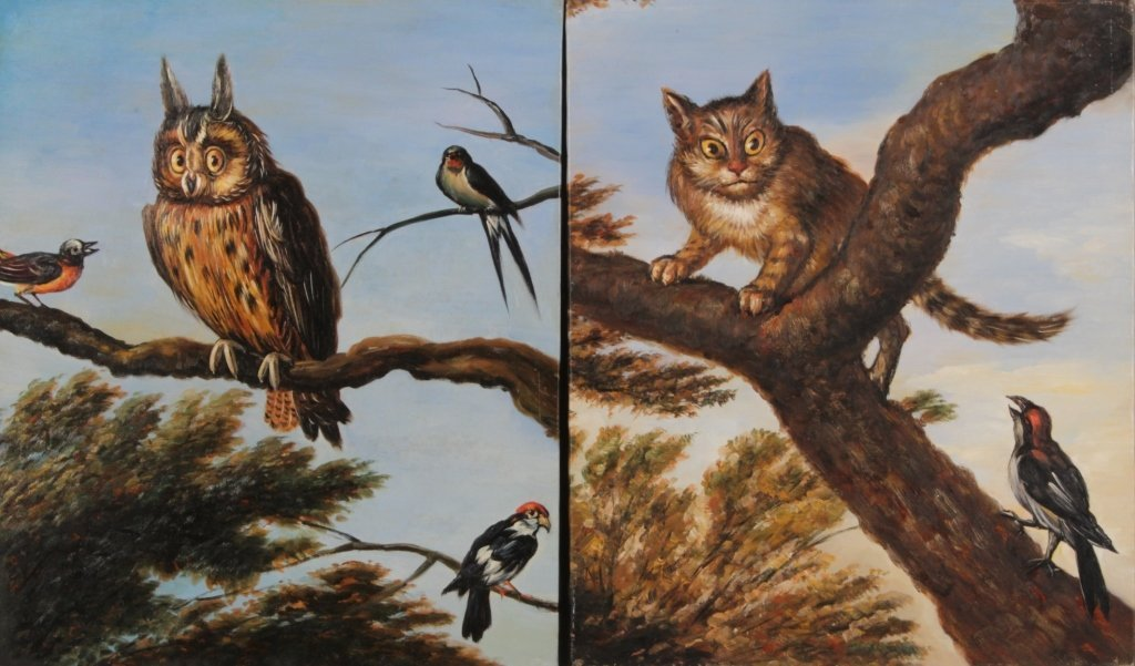 Dutch School, O/C, Owl and Birds, Cat & Birds