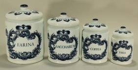 Set Of Four Delft Canisters