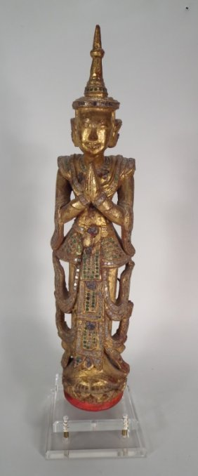 Carved, Painted, Inlaid Figure Of Diety