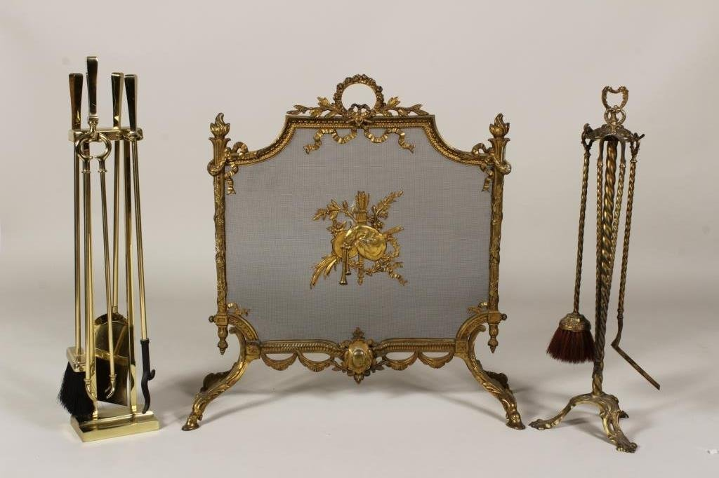 Decorative Fire Screen and Fire Tools