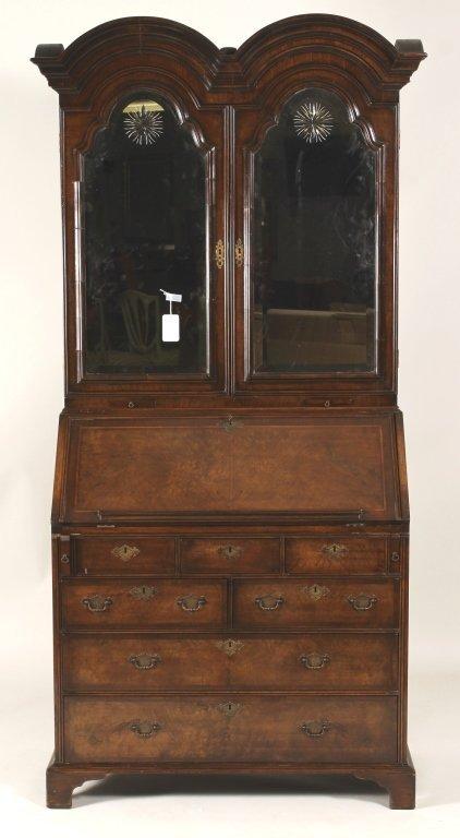Georgian Style Burled Walnut Secretary/Bookcase