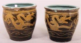Pr Large Asian Ceramic Jardiniere