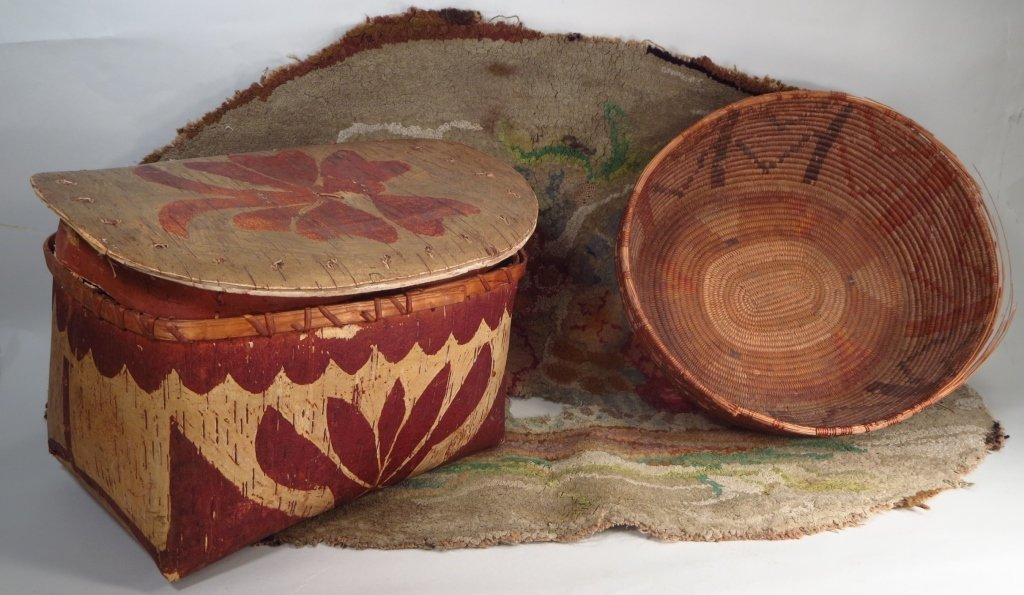Two Native American Baskets and a Rug.