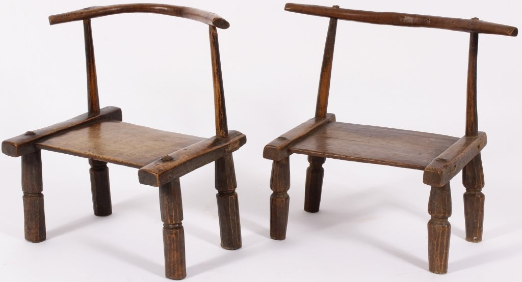 2 African Oak Wood Low Chairs