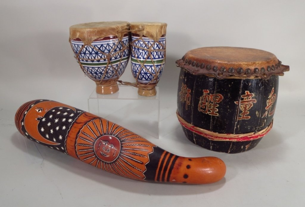 Two Drums; Chinese & Moroccan + Peruvian Gourd