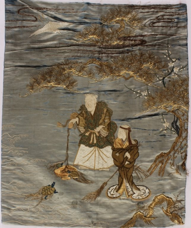 Chinese Embroidery on Silk, Turtle Fishing