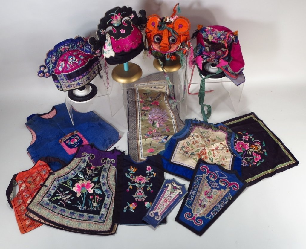Group of 13 Chinese Silk Vestments & Textiles