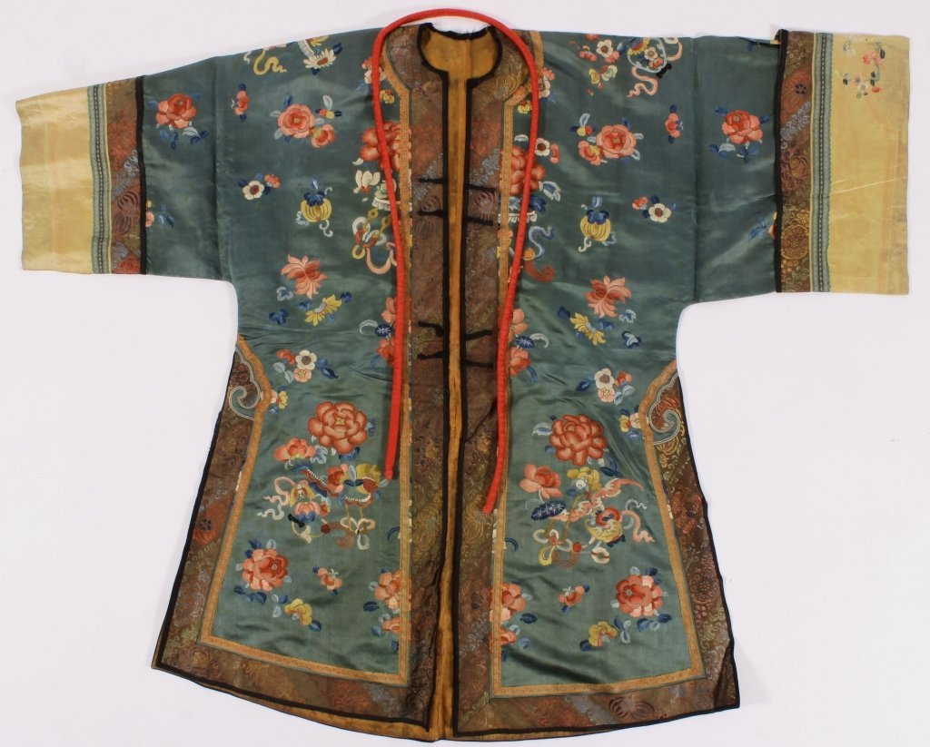 Chinese Floral Embroidered Robe, 20th C.,