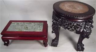 Two Chinese Hardwood Tables with Marble Tops