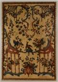 Six Painted Leather Panels, French, early 20th C.