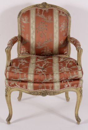 French Provincial Style Fauteuil, Salmon Stripes