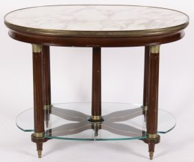 Fr. Directoire-Style Marble & Bronze Oval Table