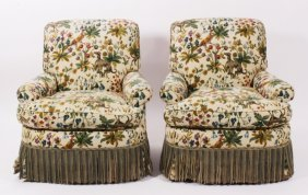 Pair Small Armchairs, Dogs & Birds Fabric, Casters