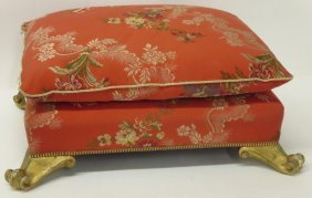 Ottoman with Gilt Feet and Silk Embroidered Fabric