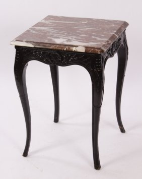 Louis XV Style End Table with Marble Top